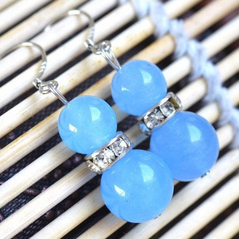 Blue Jade Bead Earrings