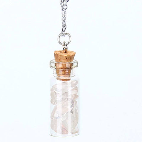 Rose Quartz Chipped Gemstone Bottle