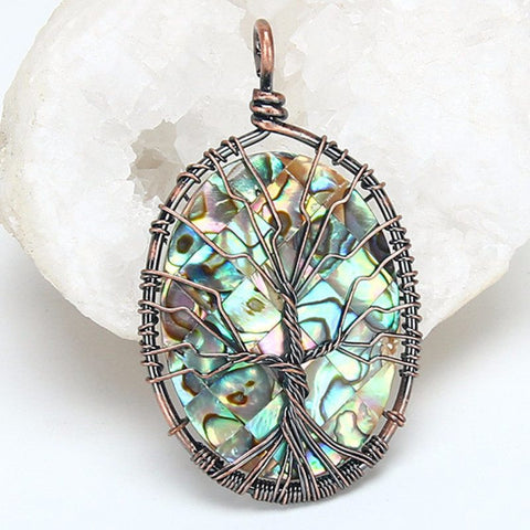Abalone Tree Of Life Oval Pendant