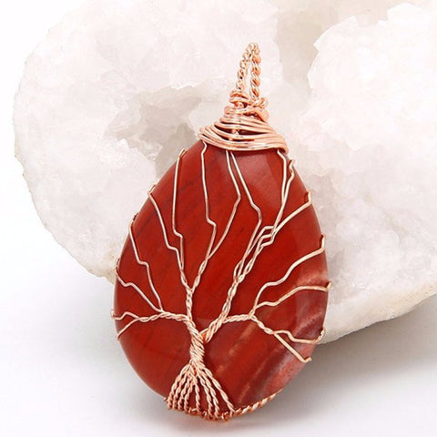 Red Jasper Gold Tree Of Life Wrapped Pendant