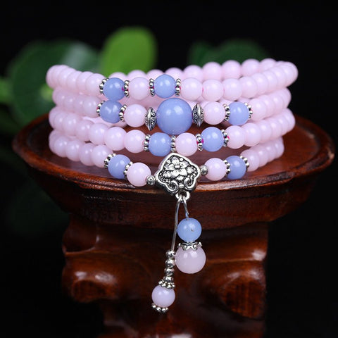 Pink Chalcedony Charm Multilayer Bead Bracelet/Necklace
