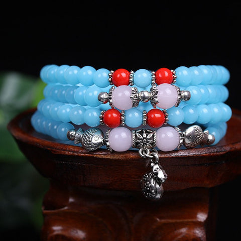 Blue Jade Multilayer Charm Bead Bracelet/Necklace