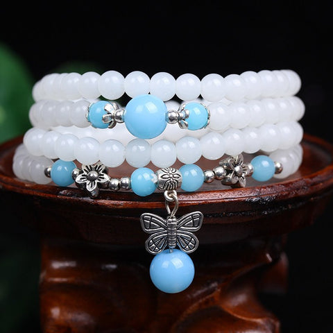 White Chalcedony Multilayer Butterfly Charm Bead Bracelet/Necklace