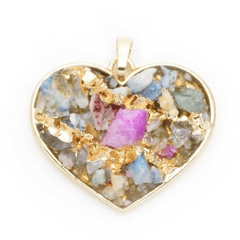Quartz Multi-Color Heart Pendant