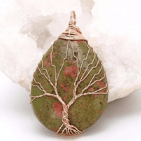 Unakite Gold Tree Of Life Wrapped Pendant