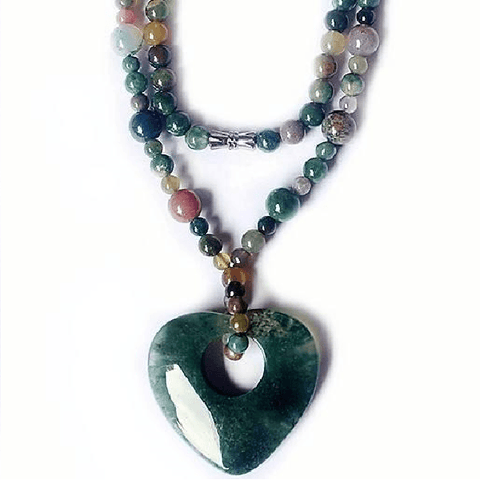 Indian Agate Heart Necklace