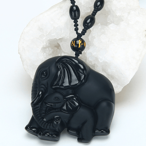 Black Obsidian Elephant Necklace
