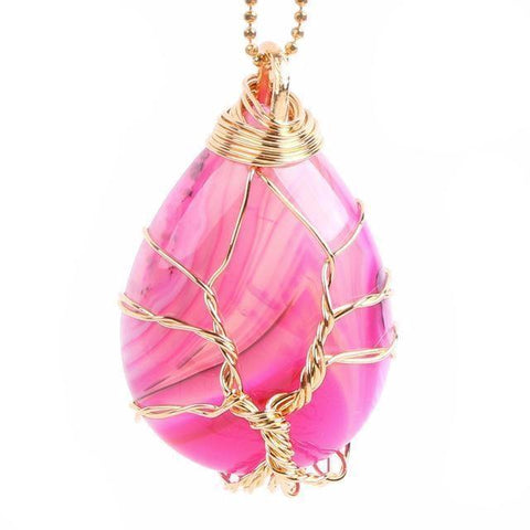 Pink Agate Gold Tree of Life Wrapped Pendant