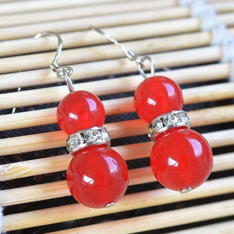Red Chalcedony Bead Earrings
