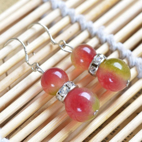 Watermelon Skin Quartz Bead Earrings