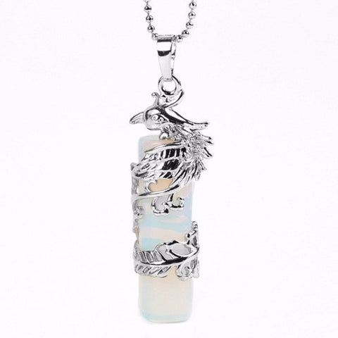 Opalite Phoenix Wrapped Cylinder Pendant
