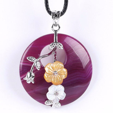 Purple Agate Flower Pendant