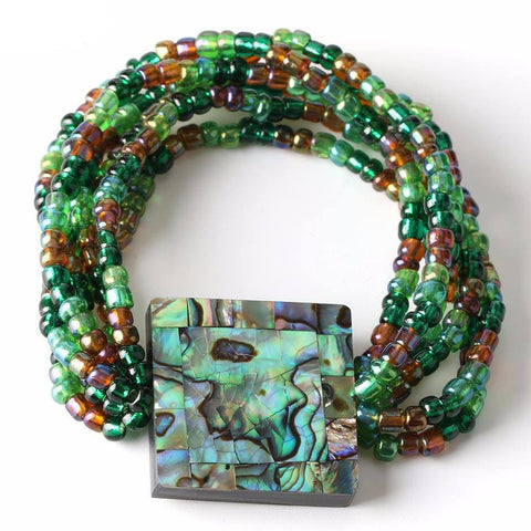 Abalone Tile Multi-Color Bead Bracelet