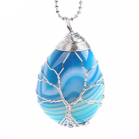 Blue Agate Tree of Life Wrapped Pendant