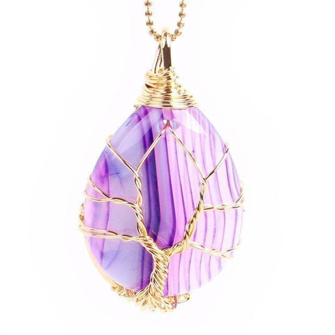 Purple Agate Gold Tree of Life Wrapped Pendant