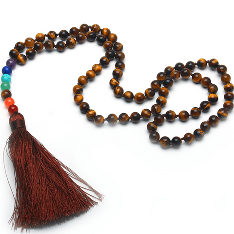 7 Chakra Tiger Eye Bead Tassel Necklace/Bracelet
