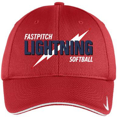 Lightning Softball Unisex Nike Golf - Dri-FIT Mesh Swoosh Flex Sandwich Cap - Blue Bison Sports