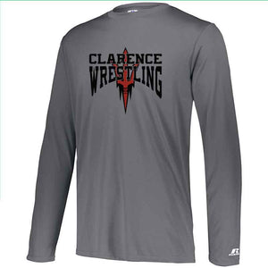 Clarence HS Wrestling Russell Dri-Power Core Performance Long Sleeve Tee - Blue Bison Sports