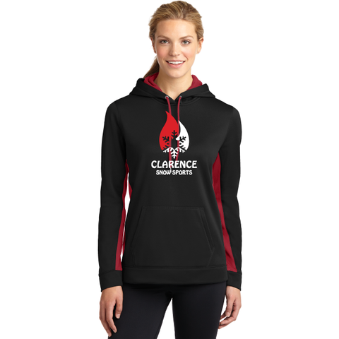 Clarence Ski Club Sport-Tek® Ladies Sport-Wick® Fleece Colorblock Hooded Pullover - Blue Bison Sports