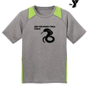 YMCA Cobras Sport-Tek Youth Heather Colorblock Contender Shirt - Blue Bison Sports
