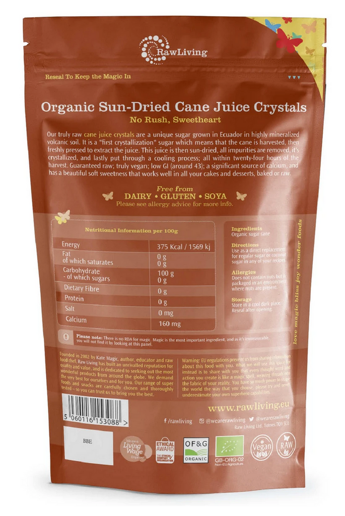 Organic Sun-Dried Cane Juice Crystals (250g)
