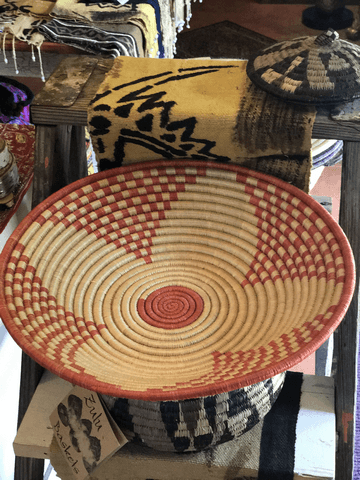 Orange flower design Rwandan Basket