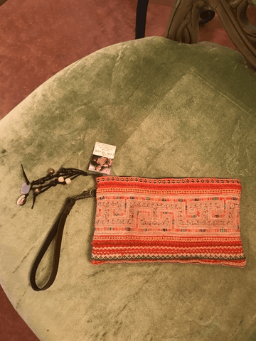 Orange hand clutch,,Bags The Funky Hippy Chic Boutique