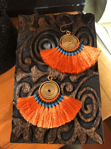 Thread fan earrings Orange,,Earrings The Funky Hippy Chic Boutique