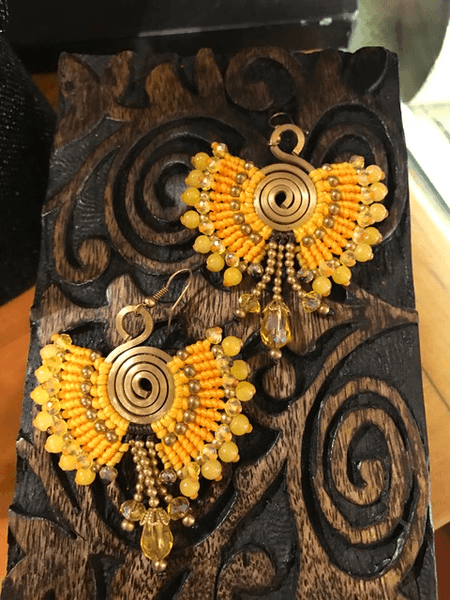 Beaded peacock Earrings Golden,,Earrings The Funky Hippy Chic Boutique