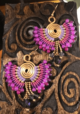 Peacock earring Purple,,Earrings The Funky Hippy Chic Boutique