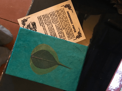 Turquoise Leaf Handmade Paper Journal from Nepal,,Journal The Funky Hippy Chic Boutique
