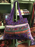 Embroidered shoulder tote