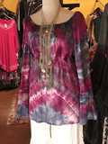Indigo and fushia Tie Dye Peasant Top