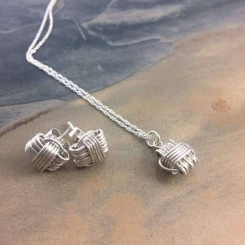 Elephant Knot Matching Set of Earrings and Necklace.
