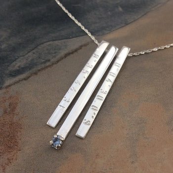 GPS and Birthstone Bar Necklace in Silver
