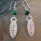 Malachite and Sterling Silver Shield Earrings