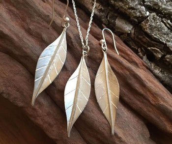 Silver Leaf Earring and Necklace Set