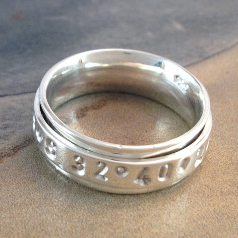 "GPS ""Take Me Home"" Single Spinner Ring Made in Silver"