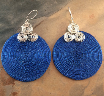 Sisal and Silver Earrings