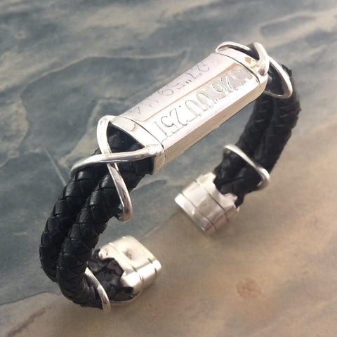 GPS Leather and Silver Torque Bangle