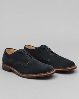 Plain Toe Blucher Unlined Navy Suede