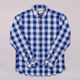 Shadow Plaid Work Shirt Navy