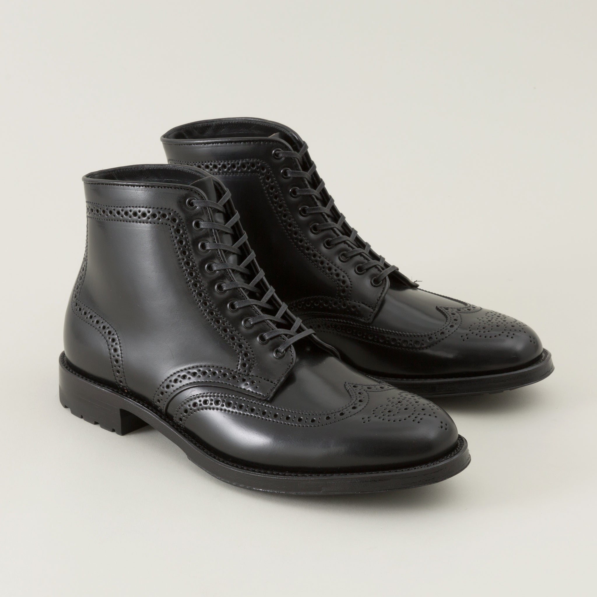 Wing Tip Boot, Black Shell Cordovan