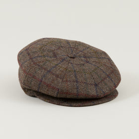 Borsalino 8 Panel Cap Brown Overcheck Tweed Image #1