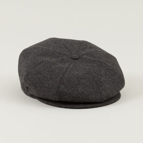Borsalino 8 Panel Cap Charcoal Herringbone Tweed Image #1