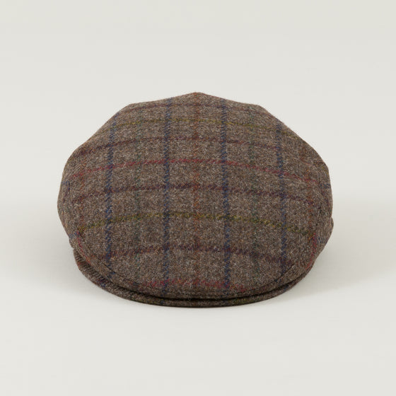 Borsalino Flat Cap Brown Overcheck Tweed Image #1