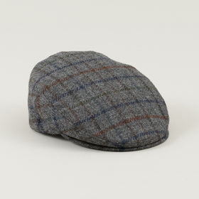 Borsalino Flat Cap Grey Overcheck Tweed Image #1