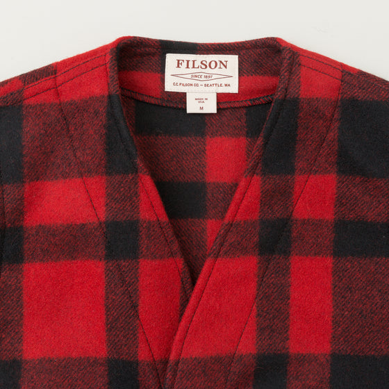 Filson Mackinaw Wool Vest Red Black Plaid Image #1