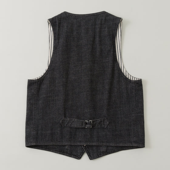 The Stronghold Lapel Vest 10 5 Oz Black Selvage Denim Image #1
