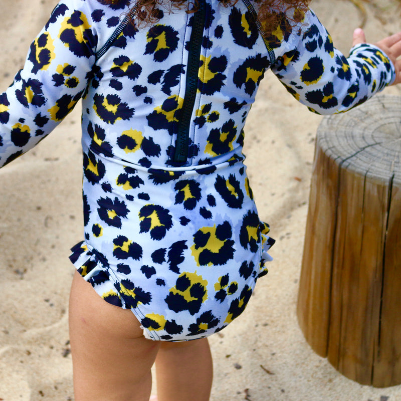 LEOPARD LONG SLEEVE SWIMSUIT (Size 8,10,12 left)
